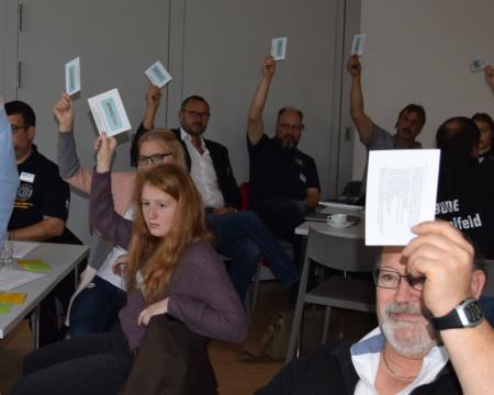 Symbolfoto - Menschen halten Stimmkarten hoch